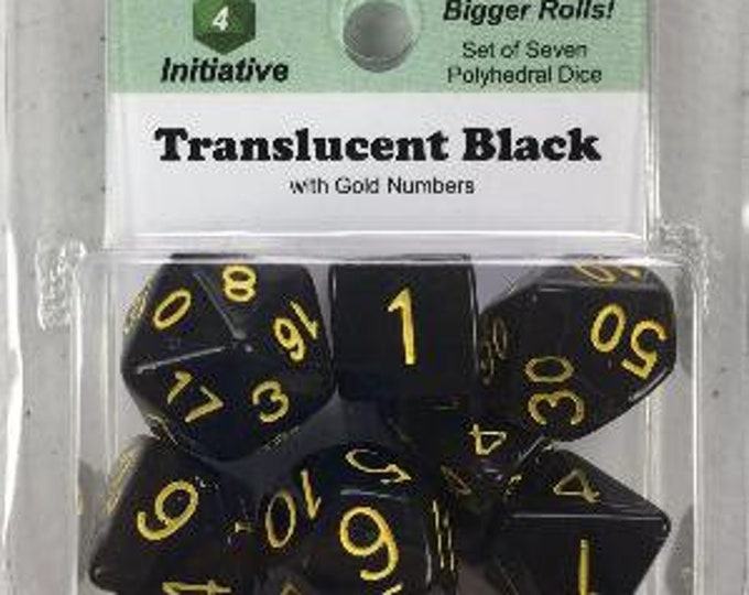 Polyhedral Dice Set: Translucent Black (Smoke) with Gold Numbers (7) - Role 4 Initiative