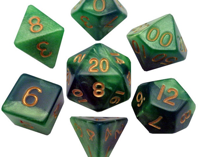 7-Die Set Combo: Green-LightGreen/Gold - MTD149 - Metallic Dice Games