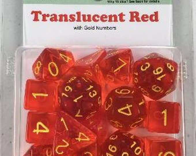 Polyhedral Dice Set: Translucent Red with Gold Numbers (15) - Role 4 Initiative