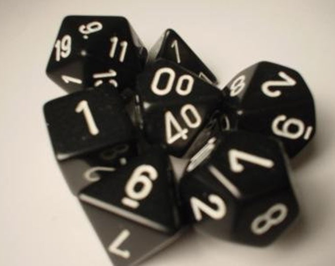 Black/White Opaque Polyhedral 7-Die Set - CHX25408 - Chessex