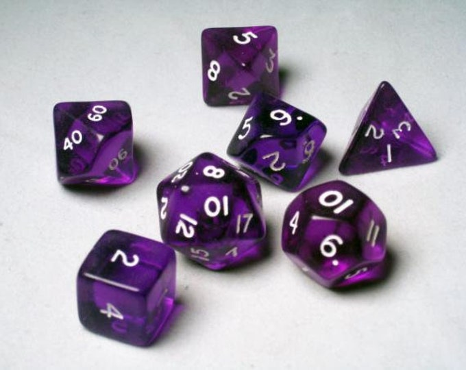 Purple Translucent Polyhedral 7-Die Set - 06404 - Crystal Caste
