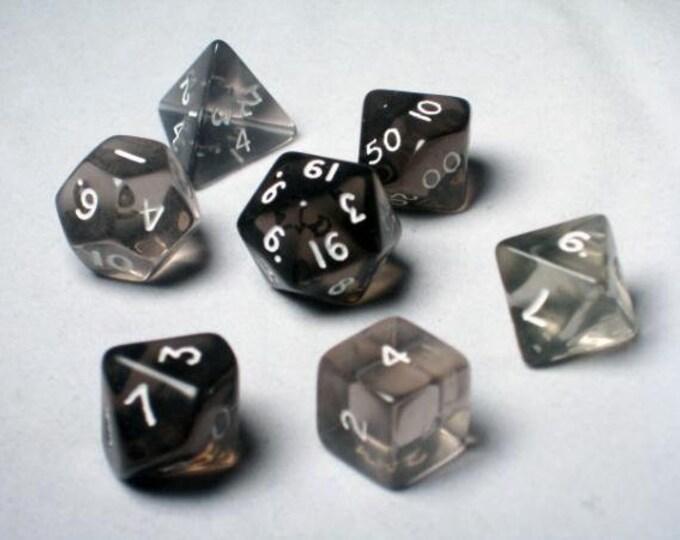 Black Translucent Polyhedral 7-Die Set - 06406 - Crystal Caste