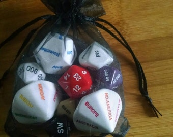 GM Dice Set - Unique Dice for Compass Direction, NPC Reactions, Treasure Generation, Time and Location