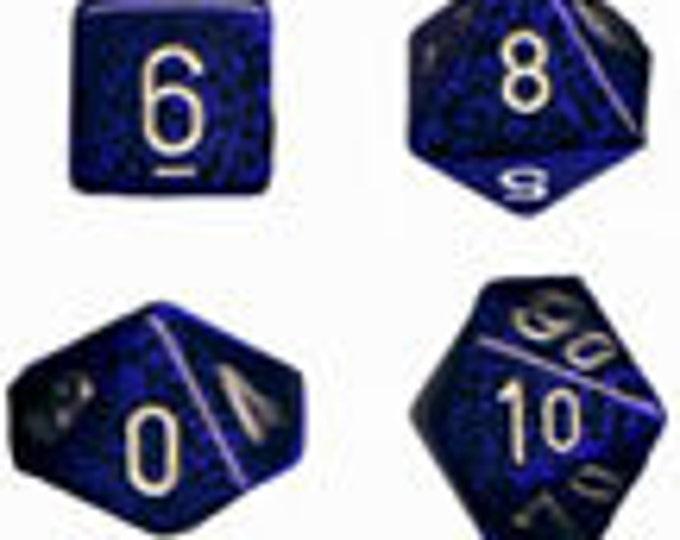 Golden Cobalt Speckled Polyhedral 7-Die Set - CHX25335 - Chessex