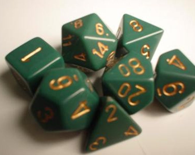 Green/Copper Opaque Polyhedral 7-Die Set - CHX25415 - Chessex