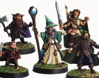 Elfsera Adventures Miniatures Set #1 (5) Solid Pewter, Fully Painted - 40211 - Crystal Caste