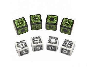 Exotic Dice: D6 Black/Green Cyberfudge Dice (8) - Q-Workshop