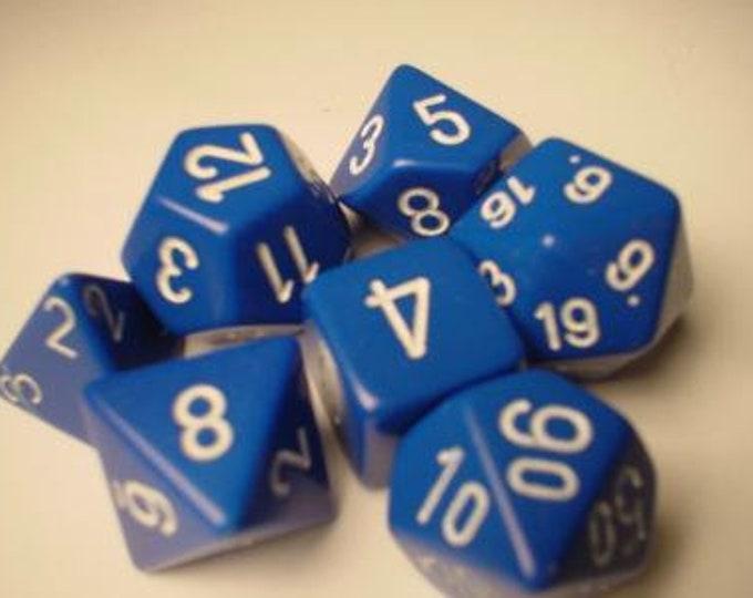 Blue/White Opaque Polyhedral 7-Die Set - CHX25406 - Chessex