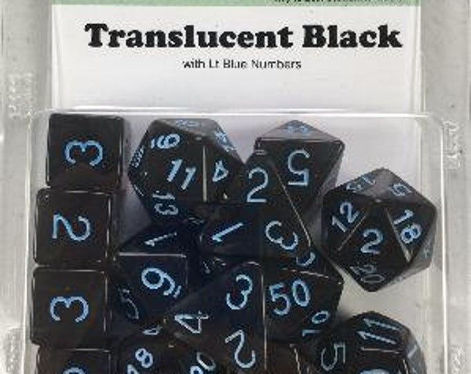 Polyhedral Dice Set: Translucent Black (Smoke) with Light Blue Numbers (15) - Role 4 Initiative