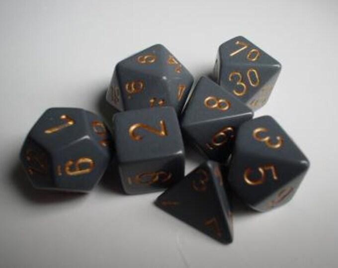 Grey/Copper Opaque Polyhedral 7-Die Set - CHX25420 - Chessex