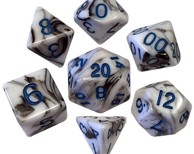 7-Die Set Marble: Marble/Blue - MTD1032 - Metallic Dice Games