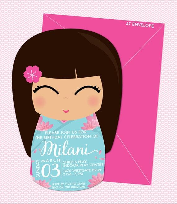 Kokeshi doll japanese girl birthday invitation printable pdf etsy image 0 stopboris Images