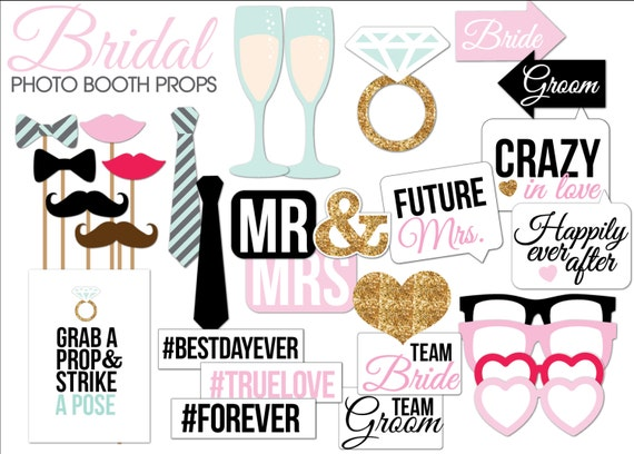 picture relating to Free Photo Booth Props Printable Pdf identified as Bridal Shower/Wedding ceremony Image Booth Props Printable PDF-- Instantaneous Obtain