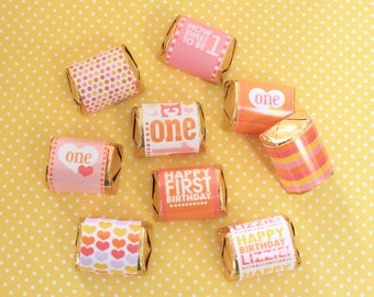 First Girl Birthday- Mini Chocolate Wraps- Printable PDF