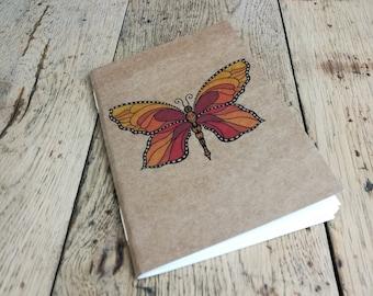 Sketchbook, Artist's Sketchbook, butterfly sketchbook, notebook, Drawing book, orange Butterfly, Butterfly notebook, personalised, butterfly
