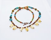 Teeth Turquoise, Tiger 39 s Eye, Beaded Necklace