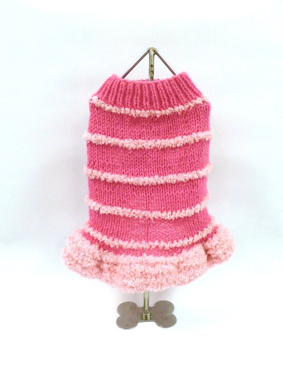 READY TO SHIP- Size Small - Pink Sweater with Furry Skirt Sweater- Hand Knit Dog Sweater