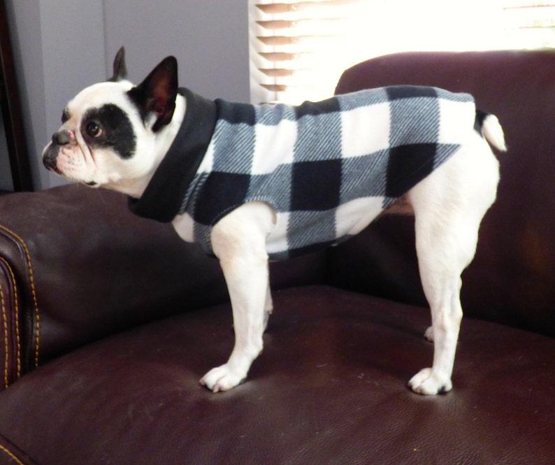 winter- jacket fleece sweater Black and white Buffalo Plaid Fleece Pull Over   XS-L animal print- french bulldog- all breed