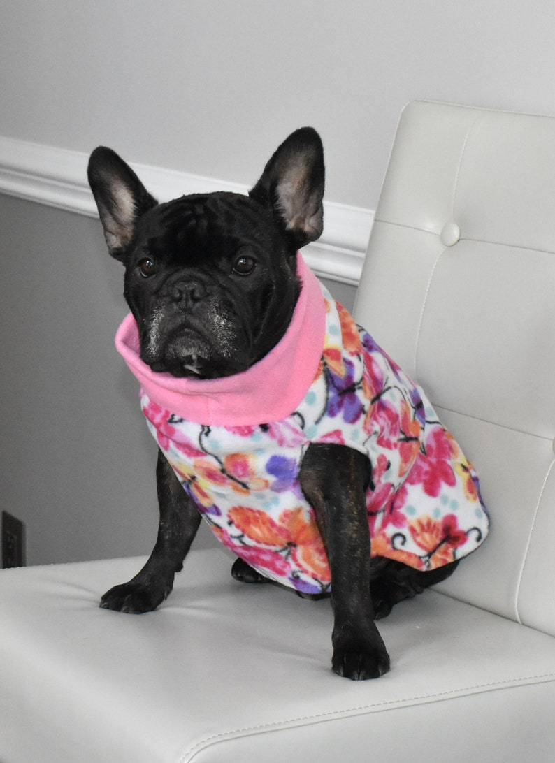 butterflies fleece dog sweater French bulldog READY TO SHIP pink sweater bright color sweater