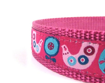 chicken dog collar, pink dog collar, ribbon dog collar