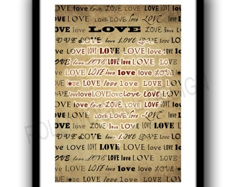 Love Heart Poster Print, Valentines Day, wall decor, typography