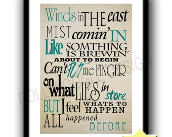 Mary Poppins quote poster, winds in the east, minimalist, nostalgic, wall decor, typography