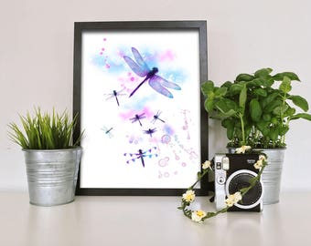 Dragonfly Watercolour, Wall Art, Wall decor, Watercolor, Art Print