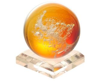 Ashes in Glass Paperweight - The Eternal Orb, Honey Amber- Memorial Keepsake