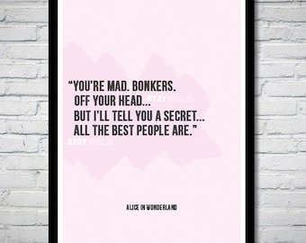 Alice in Wonderland We're All Mad Quote Wall Art Print