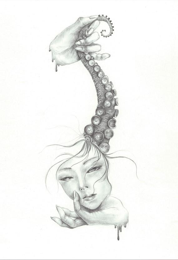Linggo surreal drawing Tentacle II Octopus hand Wall Art Wall Decor Art Poster sea creature tentacles print surreal art dark design pencil
