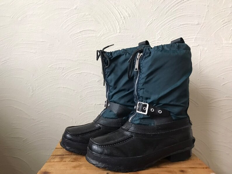 d3c3a7be6d2fd vintage steel shank snow boots with wool inserts - us mens size 10/ladies 12