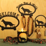 German Shepherd Welcome Sign, Leash Hook, Key Rack, Candle Holder for Yankee Type Jar Candles
