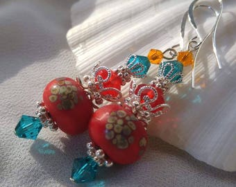 Red, Gold and Aqua Earrings