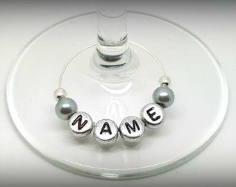 PERSONALISED SILVER PALE PINK /& WHITE LETTER INITIAL ALPHABET WINE GLASS CHARMS