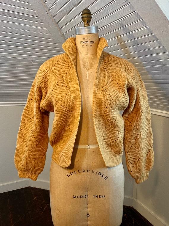 Handmade Mustard Yellow Granny Square Cardigan, V… - image 1