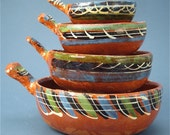 Mexican Nesting Bowls or Cazuelas of Tlaquepaque Redware Pottery Free Shipping