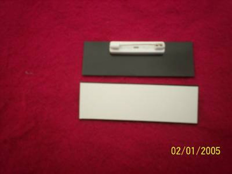 1x3 inch blank engraving plastic name badges with free pins 20 White beveled