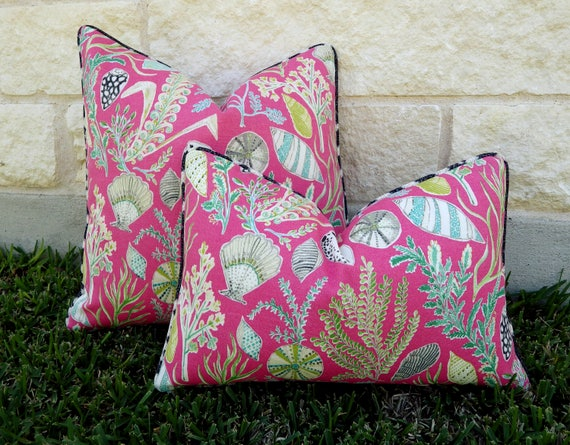 Pink Outdoor Pillow Pink And Black Outdoor Pillow Etsy