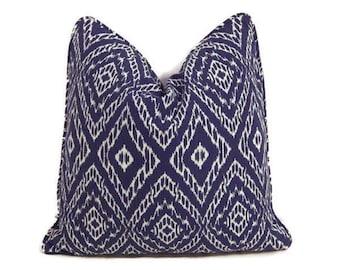 Blue Pillow- Blue and White Ikat Pillow Cover-Robert Allen Strie Ikat Ultramarine Pillow Cover- Modern Blue Pillows