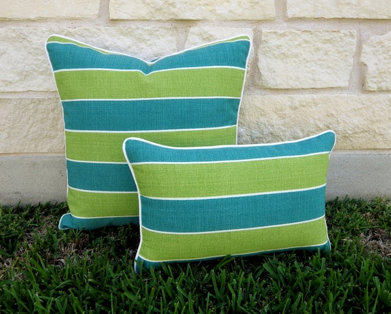 Blue Striped Outdoor Pillow Cover Green