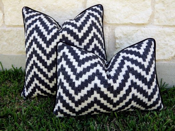 Black And Cream Outdoor Pillow Black Outdoor Pillow Etsy