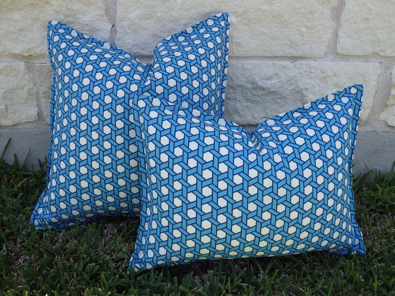 Blue And White Outdoor Pillow Cover Turquoise Navy And White Etsy