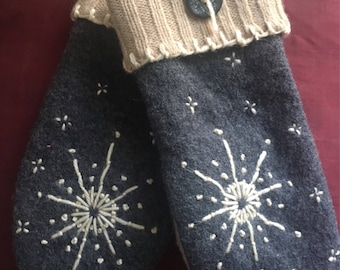 C1    felted wool mittens hand embroidered lined with fleece