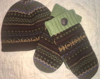 F12   Felted wool mitten and hat set  lined with fleece