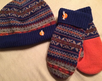 D14  Felted wool hat and mitten set                           size small