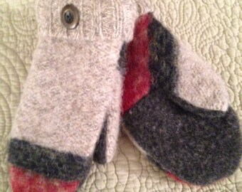 G7   Cute kids mittens    Felted wool lined with fleece