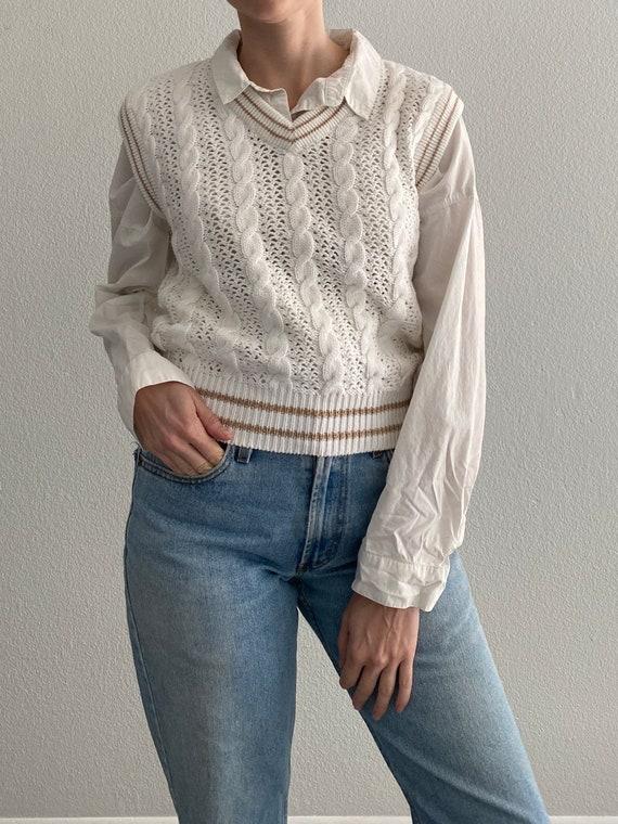 Vintage Knit Sweater Vest White Crochet Sleeveles… - image 1