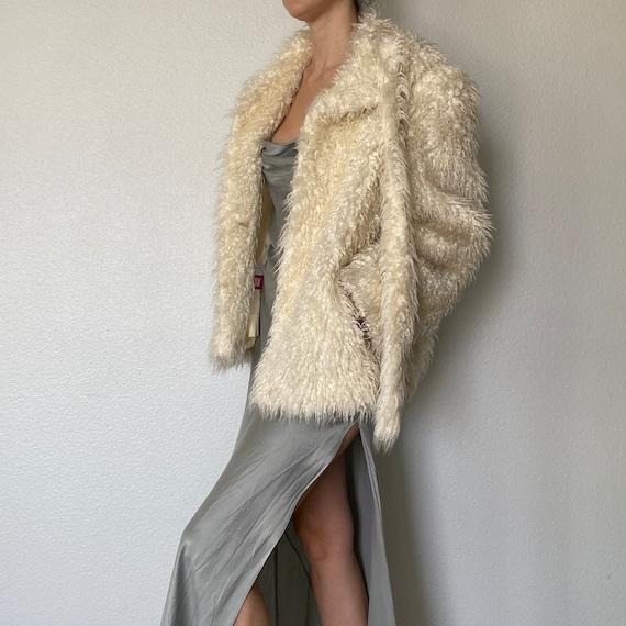 Vintage Fur Shag Jacket White Cream Teddy Bear Coa