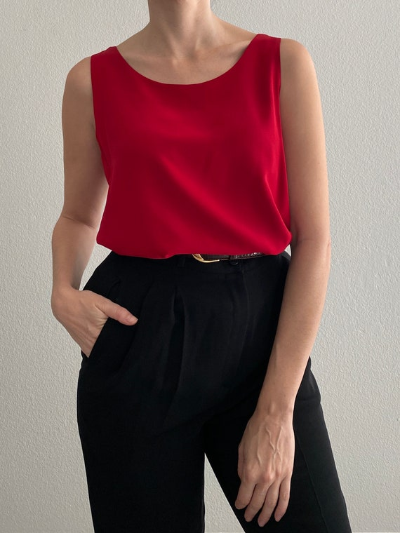 M Sweater Blouse Red Silk Knit Short Sleeved Minimal Blouse Shirt Top 90s Red Silk Blend Woven Short Sleeve Ribbed Sweater Top