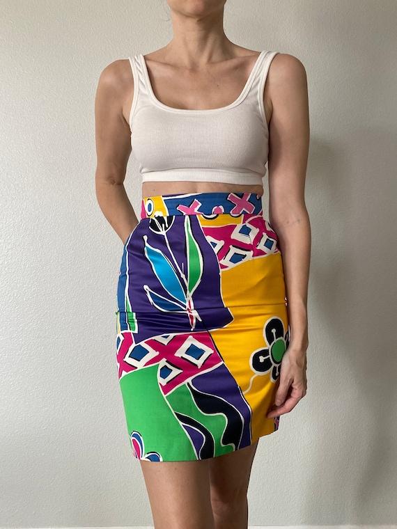 Vintage Floral Escada Mini Skirt High Waisted Brig
